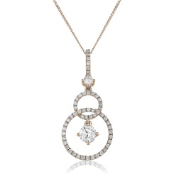 HPRDR156 Round cut Designer Diamond Pendant - rose