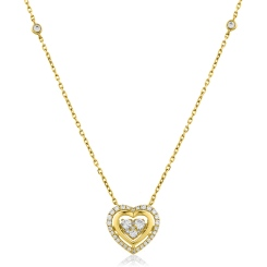 HPRDR162 Round cut Designer Diamond Pendant - yellow