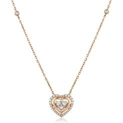HPRDR162 Round cut Designer Diamond Pendant - rose