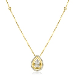 HPRDR163 Round cut Designer Diamond Pendant - yellow