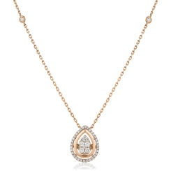 HPRDR163 Round cut Designer Diamond Pendant - rose