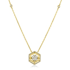 HPRDR164 Round cut Hexagon Shaped Fixed Chain Halo Diamond Pendant - yellow