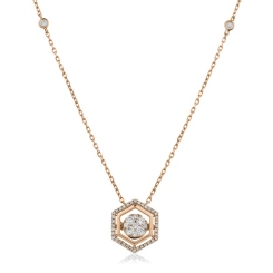 HPRDR164 Round cut Hexagon Shaped Fixed Chain Halo Diamond Pendant - rose