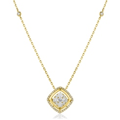 HPRDR165 Round cut Cushion Shaped Fixed Chain Halo Diamond Pendant - yellow