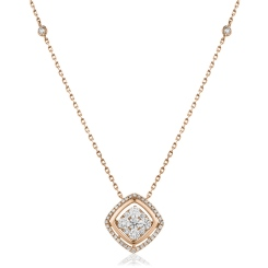 HPRDR165 Round cut Cushion Shaped Fixed Chain Halo Diamond Pendant - rose