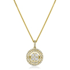 HPRDR166 Double Halo Round cut Cluster Diamond Pendant - yellow