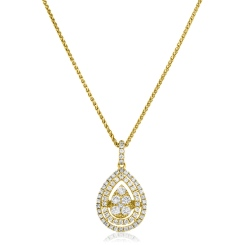 HPRDR167 Pear Shaped Double Halo Round cut Cluster Diamond Pendant - yellow