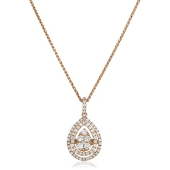 HPRDR167 Pear Shaped Double Halo Round cut Cluster Diamond Pendant - rose