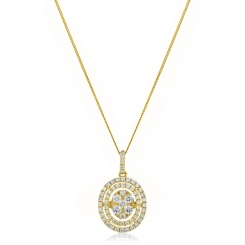 HPRDR168 Oval Double Halo Round cut Cluster Diamond Pendant - yellow