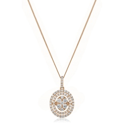 HPRDR168 Oval Double Halo Round cut Cluster Diamond Pendant - rose