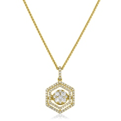 HPRDR171 Hexagon Double Halo Round cut Cluster Diamond Pendant - yellow