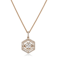 HPRDR171 Hexagon Double Halo Round cut Cluster Diamond Pendant - rose