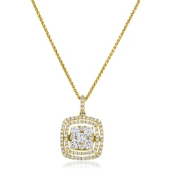 HPRDR172 Cushion Double Halo Round cut Cluster Diamond Pendant - yellow