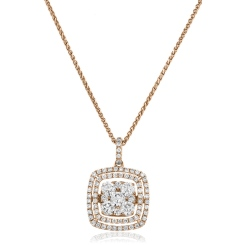 HPRDR172 Cushion Double Halo Round cut Cluster Diamond Pendant - rose