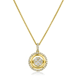 HPRDR173 Double Halo Round cut Cluster Diamond Pendant - yellow