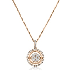 HPRDR173 Double Halo Round cut Cluster Diamond Pendant - rose