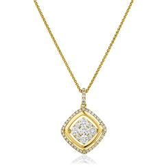 HPRDR178 Round cut Cushion Shaped Halo Diamond Cluster Pendant - yellow