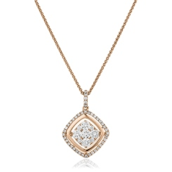 HPRDR178 Round cut Cushion Shaped Halo Diamond Cluster Pendant - rose