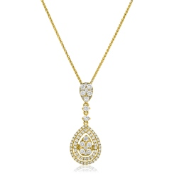 HPRDR180 Pear Shaped Round cut Drop Diamond Necklace - yellow