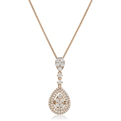 HPRDR180 Pear Shaped Round cut Drop Diamond Necklace - rose