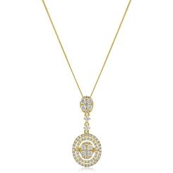 HPRDR181 Oval Round cut Diamond Drop Necklace - yellow