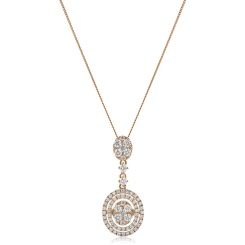 HPRDR181 Oval Round cut Diamond Drop Necklace - rose