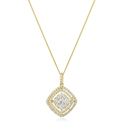 HPRDR182 Cushion Double Halo Round cut Diamond Drop Necklace - yellow
