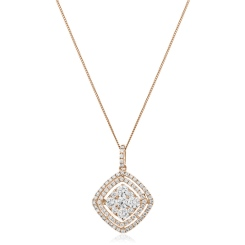 HPRDR182 Cushion Double Halo Round cut Diamond Drop Necklace - rose