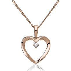 HPRDR194 Round cut Diamond Delicate Heart Pendant - rose