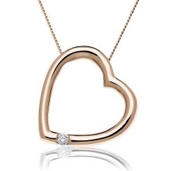 HPRDR197 Round cut Single Diamond Heart Pendant - rose
