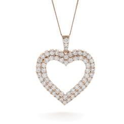 HPRDR199 Double Row Heart Round cut Diamond Pendant - rose