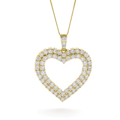 HPRDR199 Double Row Heart Round cut Diamond Pendant - yellow