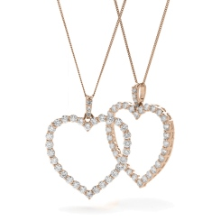 HPRDR200 Classic Round cut Heart Diamond Pendant - rose
