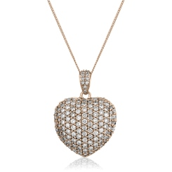HPRDR201 Dazzling Round cut Micro Pave Heart Diamond Pendant - rose