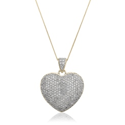 HPRDR203 Grain set Round cut Diamonds Heart Pendant - yellow