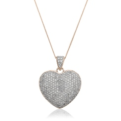 HPRDR203 Grain set Round cut Diamonds Heart Pendant - rose