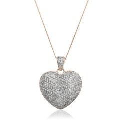 HPRDR203 Grain set Round cut Diamonds Heart Pendant - rose