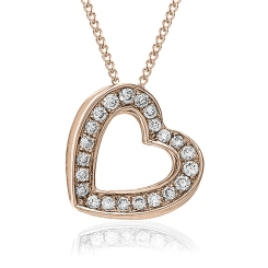 HPRDR204 Delicate Channel set Round cut Diamonds Heart Pendant - rose