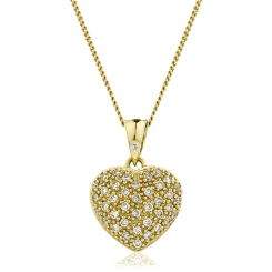 HPRDR206 Round cut Grain set Diamonds Heart Pendant - yellow