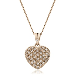 HPRDR206 Round cut Grain set Diamonds Heart Pendant - rose