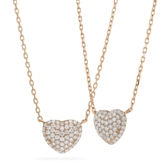 HPRDR207 Round cut Grain set Diamonds Heart Pendant with Fixed Chain - rose