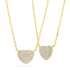 HPRDR207 Round cut Grain set Diamonds Heart Pendant with Fixed Chain - yellow