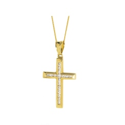 HPRDR208 Channel set Round cut Diamond Cross Pendant - yellow