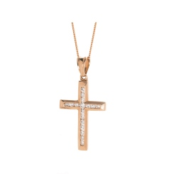 HPRDR208 Channel set Round cut Diamond Cross Pendant - rose