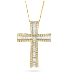 HPRDR209 Baguette & Round cut Graduating Cross Diamond Pendant - yellow