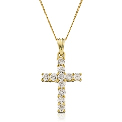 HPRDR210 Classic Round cut Diamond Cross Pendant - yellow