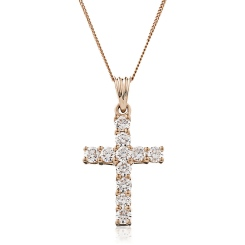 HPRDR210 Classic Round cut Diamond Cross Pendant - rose