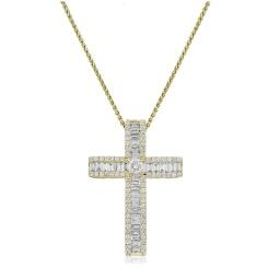 HPRDR211 Baguette & Round cut Diamond Cross Pendant - yellow