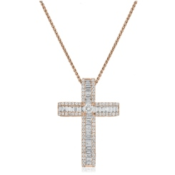 HPRDR211 Baguette & Round cut Diamond Cross Pendant - rose
