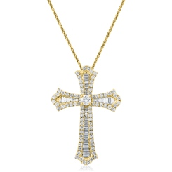 HPRDR212 Baguette & Round cut Shaped Diamond Cross Pendant - yellow